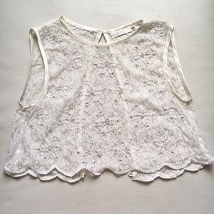 Millau Cream/White Beaded Lace Crop Top